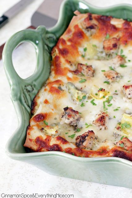 Artichoke Chicken and Spinach Lasagna looks yummy & I can't wait to make it.