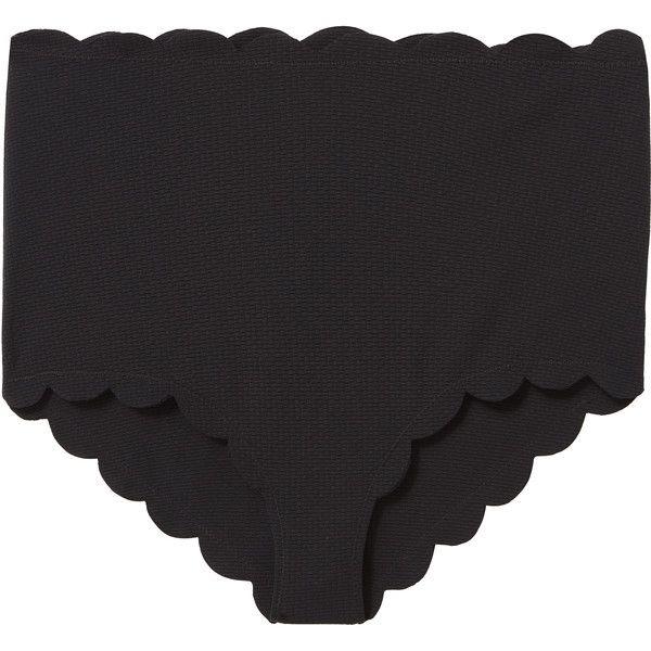 High-Waist Bikini Bottom ($148) ❤ liked on Polyvore featuring swimwear, bikinis, bikini bottoms, black, retro bikini bottom, scalloped bikini, full coverage bikini, swim bikini bottoms and full coverage bikini bottom