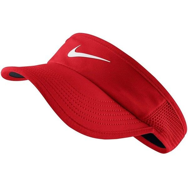 Women's Nike Featherlight Visor (£19) ❤ liked on Polyvore featuring accessories, dark pink, sun visor and nike