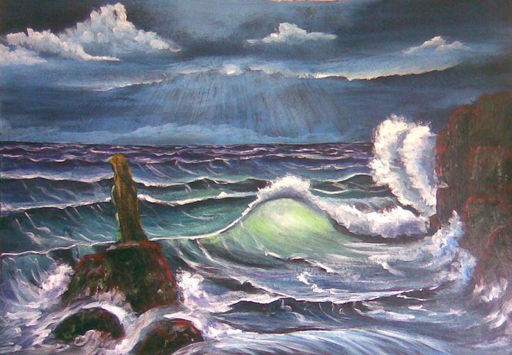 Egyedül, akril festmény, 70x100 cm falemez