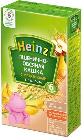 Heinz Безмолочная пшенично-овсяная с фруктами (с 6 месяцев) 200 г  — 92р.  Каша безмолочная Heinz пшенично-овсяная с фруктиками с 6 мес. 200 г. Безмолочные кашки рекомендуются в качестве первого прикорма как здоровым детям, так и детям с аллергией на коровье молоко. Каши, приготовленные из разных круп, особенно полезны, так как они позволяют комбинировать полезные свойства нескольких злаков. Пшеница является источником энергии и натуральной клетчатки. Пшеница богата калием, кальцием и…