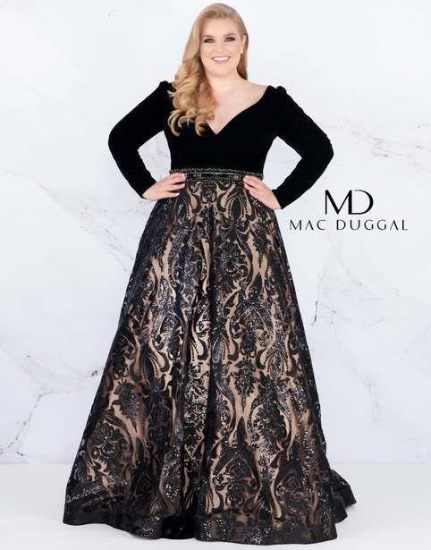 b4c6c68b8da Новогодняя коллекция вечерних платьев для полных девушек и женщин  американского бренда Mac Duggal 2019