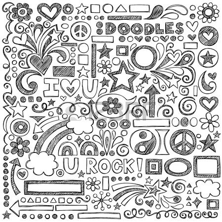 Back To School Sketchy Notebook Doodles With Flowers Shapes Hearts Stars Arrows