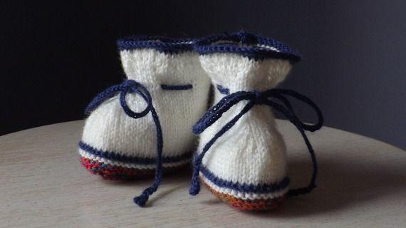 Chaussons bébé tricot écru semelle multicolore 0/3 mois