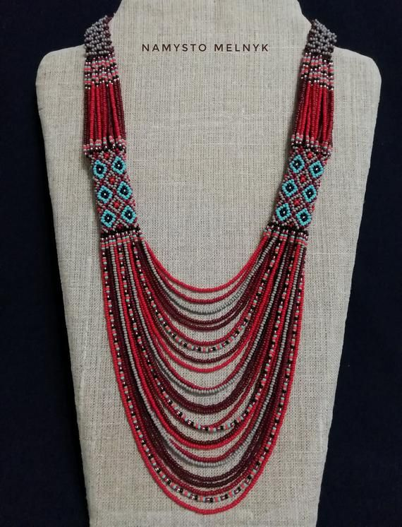 Gerdan Native american beadwork Red american bib statement necklace Red blue beaded Ukrainian jewelry
