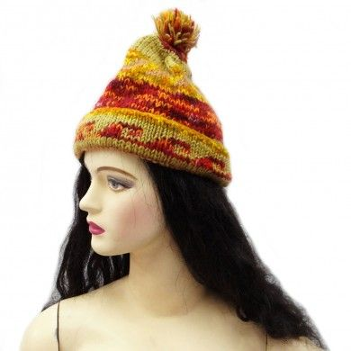 Green Hand Knitted Cap Wool Blend Hat Winter Stylish Women Wear Accessory