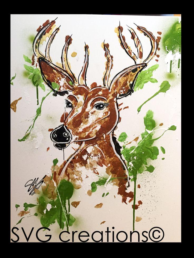 Cerf peinture abstraite sur toile à l'acrylique 24 x 30 / Deer abstract painting on canvas by acrylic 24 x 30 de la boutique SVGCreations13 sur Etsy