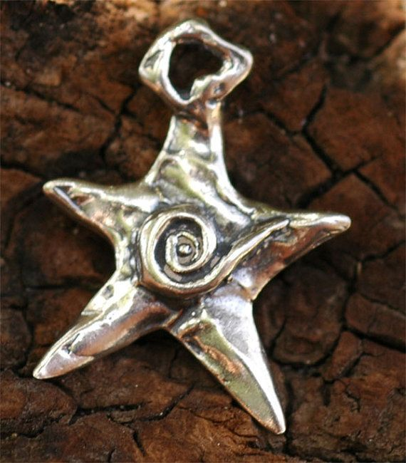 Dream Star Charm with Spiral in Sterling Silver by cathydailey
