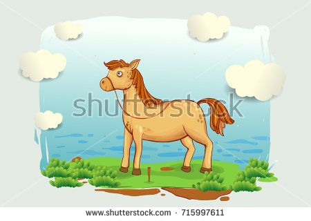 cartoon horse  illustration in the meadow, blue sky and clouds, cover design, wallpaper, children book, vector cartoon illustration
