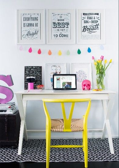 nice office space; pops of color, inspirational words