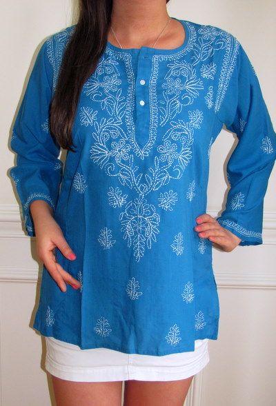 indian embroidered tunics | Online Indian cotton kurti styles, sleeveless cotton kurtas, short