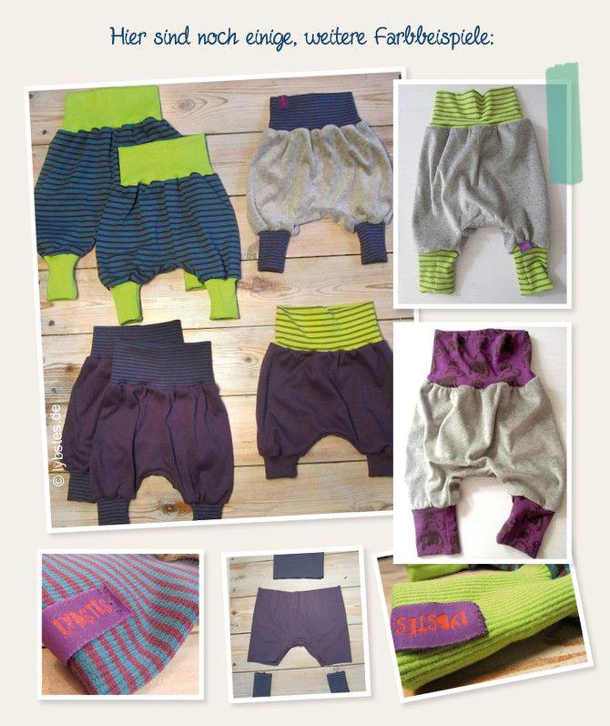Free sewing pattern. Baby Bloomers. German Pumphosen Farbeispiele