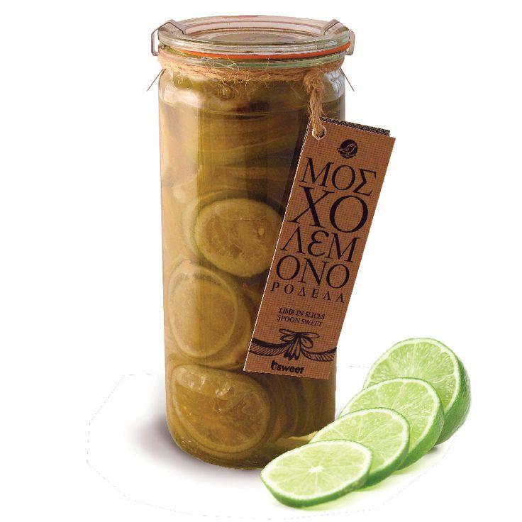 Γλυκό του κουταλιού Μοσλολέμονο (λάιμ) με ελληνικό καρπό. Χωρίς γλουτένη. Σε επώνυμο γυάλινο βάζο, κατάλληλο για οικιακή χρήση. | Lime spoon sweet with greek fruit. Gluten free