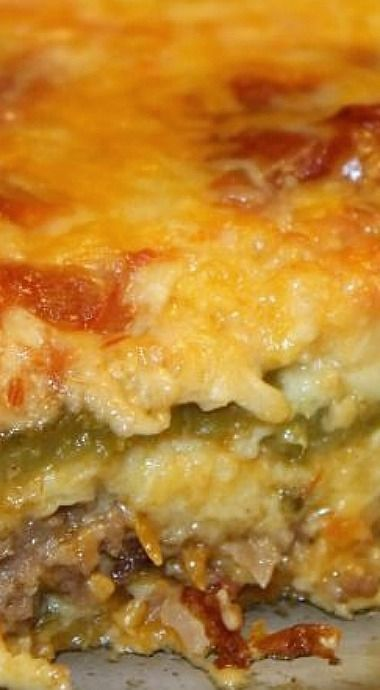 Chile Rellenos Casserole - Better if you add black olives, then drizzle some red enchilada sauce over the top, then some Parmesan cheese and let it brown a bit.)