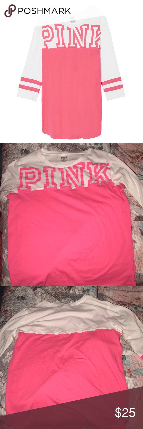 Victoria Secret Pink Football Tee Worn once!!! No stains or fading PINK Victoria's Secret Tops