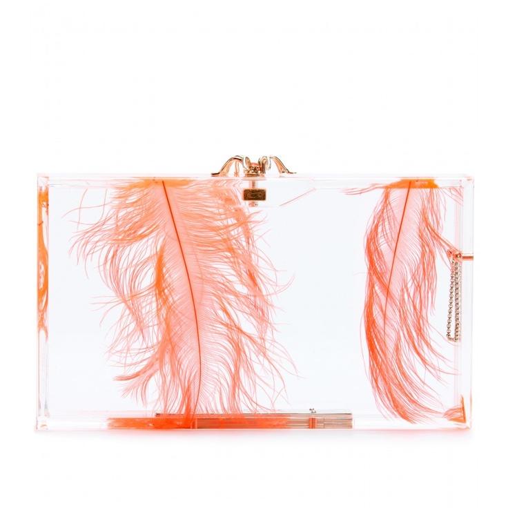 Charlotte Olympia - Pandora Feather Plexiglas Box Clutch