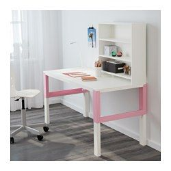 IKEA - PÅHL, Desk with shelf unit, white/pink, , This desk is designed to grow with your child, thanks to the three different heights.The desk is…