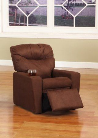 Amazon.com - Dark Brown Microfiber Childrens Kids Recliner Chair With Cup Holder