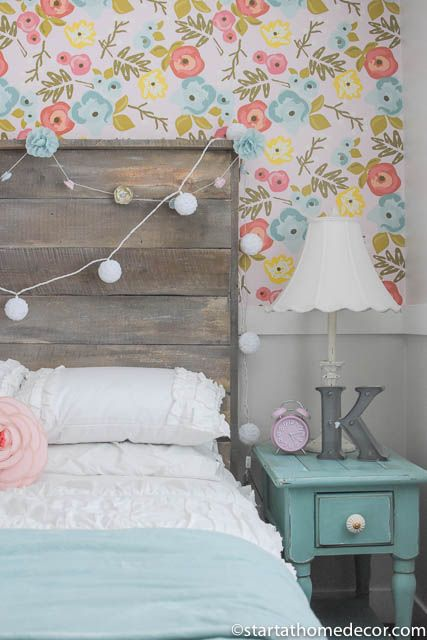 my daughters room reveal with floral wallpaper reclaimed wood bed and new white bedding - Toddler Girl Bedroom Decorating Ideas