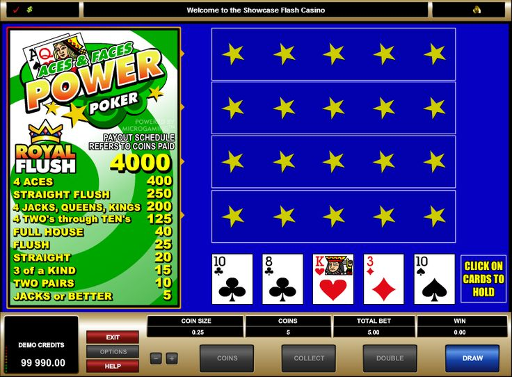 Aces and Faces Power Video Poker Game  In this free Aces and Faces power video poker game, you play 4 hands at a time instead of the traditional 1 hand per game, giving you extra chances to win. This free Aces and Faces power poker game takes Jacks or Better to win, with a Royal Flush winning the jackpot. Free Aces and Faces Power video poker game wagering: Bets range from 25 cents to $100 maximum win.  http://www.gamesandcasino.com/casino-games/power-poker-aces-faces.htm