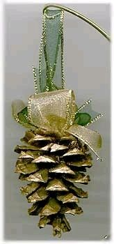 Easy Pinecone Ornaments!!!  Could use any color lace!!!