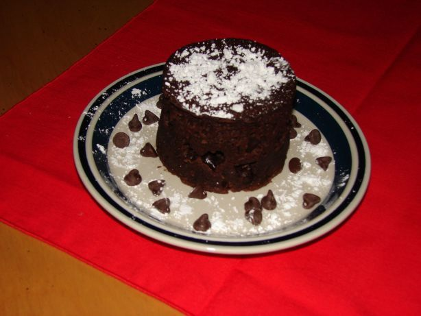 GF chocolate microwave cake. I cut sugar to 3 Tbls & used turbinado. Replaced chocolate chips with nut butter. Used melted coconut oil. Delish!!