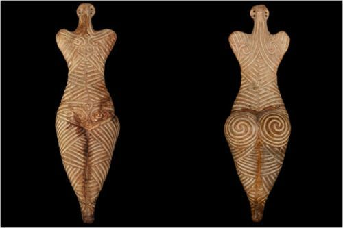 In Romania they are the Cucuteni, in the Ukraine they are the Trypillians and in Russia they are the Tripolie: a late Neolithic culture that flourished between 5500 BC and 2750 BC. The Cucuteni-Typillian culture was matriarchal. Their religion was centered around the Great Mother Goddess who was a symbol of motherhood and agricultural fertility. They also worshipped the bull (strength, fertility and the sky) and a snake (eternity and eternal movement).