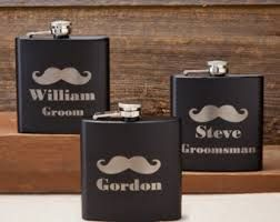 Personalized Black Matte Mustache Flask – Gourmet Care Packages