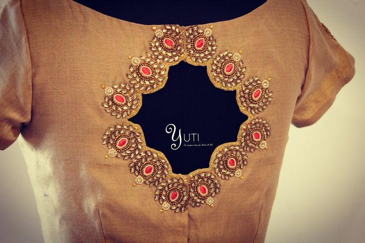 Simple blouse with neat cut and antique embroidery!For Orders and Queries reach at 044-42179088 / Whatsapp: 7010905260. 26 August 2017