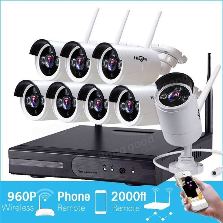 Hiseeu 960P Wireless CCTV 8CH NVR Kit Outdoor IR Night Vision IP WiFi Camera Security Surveillance EU Plug