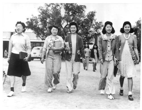 """Page 1 :: """"Marching to School -- Japanese schoolgirls march along to school at Santa Anita Assembly Center.""""--caption on photograph :: Japanese American Relocation Digital Archive, 1941-1946. http://digitallibrary.usc.edu/cdm/ref/collection/p15799coll75/id/1776"""