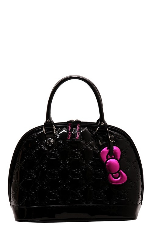 Loungefly - Hello Kitty Black Patent Embossed Bag