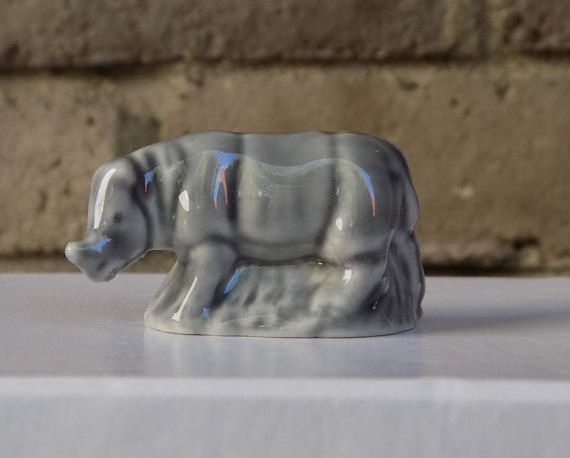 Wade Rhino Figurine by CleaningOutMyStudio on Etsy