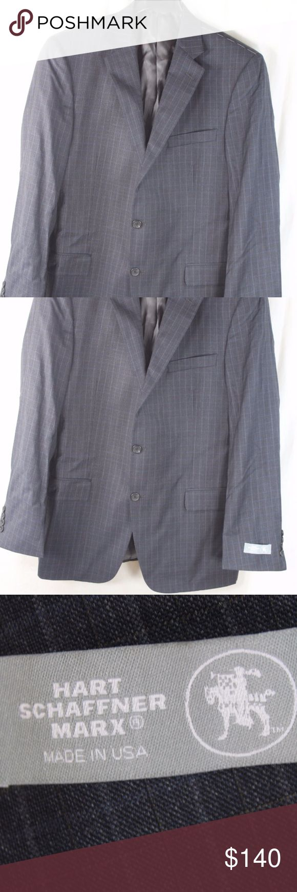 "ART SCHAFFNER MARX GRAY PLAID WOOL BLAZER 38R Measurements (we actually measured these)  ARMPIT/ARMPIT:	     24""  INSEAM:  	"" LENGTH:	30""   Style:			WOOL;  Condition:	                                                    BRAND NEW WITH TAGS. SOURCED DIRECTLY FROM AN UPSCALE US RETAILER.  15-144-N7 Hart Schaffner Marx Suits & Blazers Sport Coats & Blazers"
