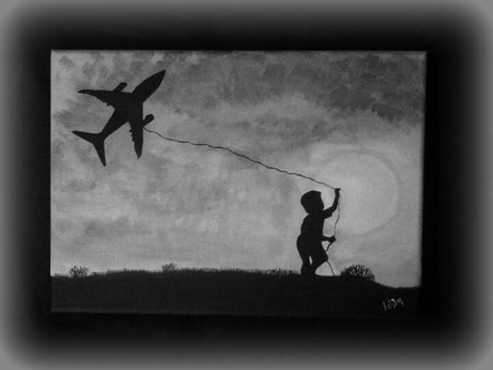 The boy with the aeroplane, painting canvas