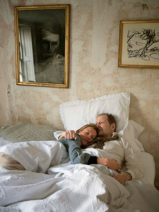 Kate Moss with Lucian Freud shortly before his death, 2010.