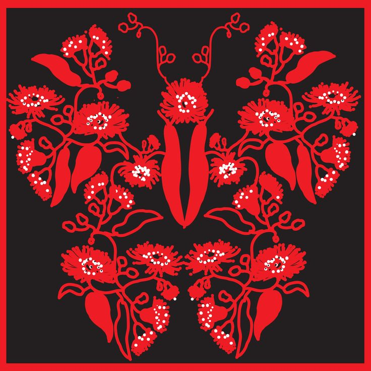 Gumnut Butterfly - eaucalyptus leaf & flower composition in red and black.