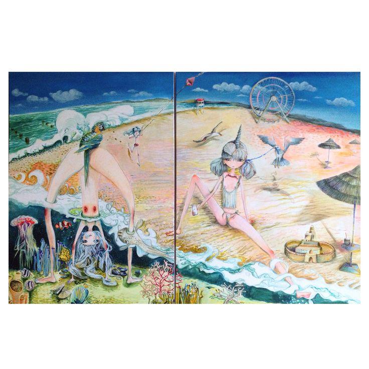 SUNJUICE, acrylic on canvas, 150/100, dyptich, popart, fineart, contemporary art, superflat.