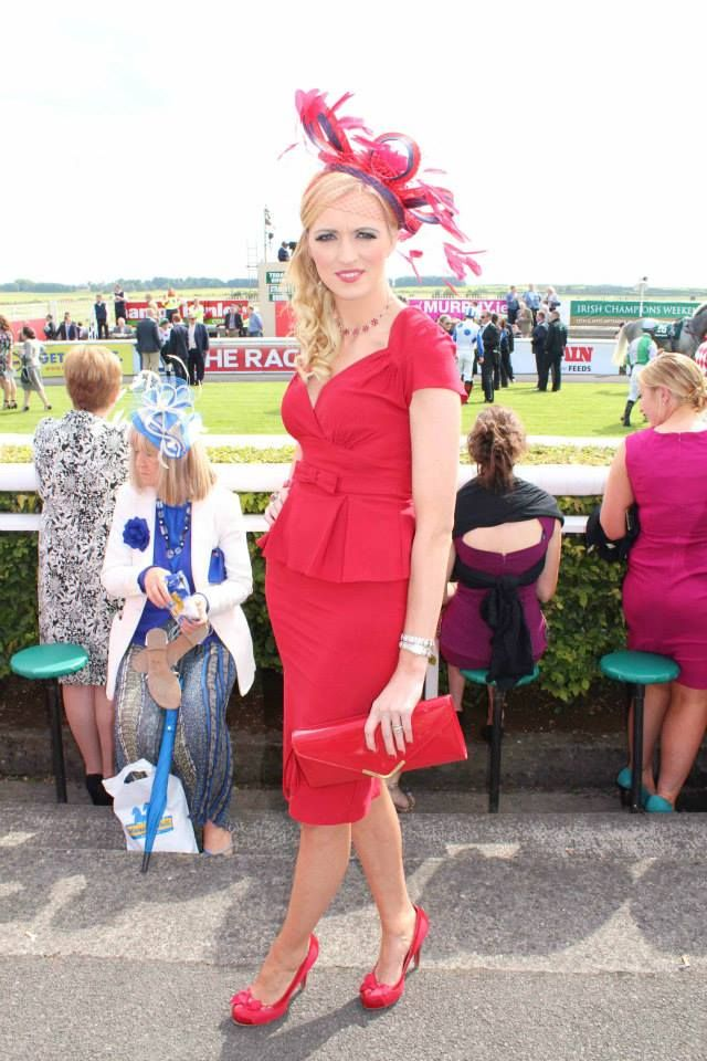JHK Millinery at the Irish Derby, Curragh Racecourse, 2014.   #RedDress