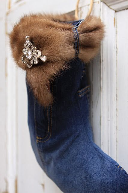 Gorgeous stocking - repurposed denim skirt, mink, brooch detail. I'm going to do this with Grandma's old minks!