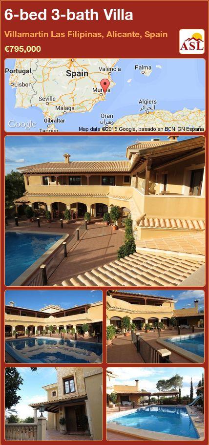 6-bed 3-bath Villa in Villamartin   Las Filipinas, Alicante, Spain ►€795,000 #PropertyForSaleInSpain