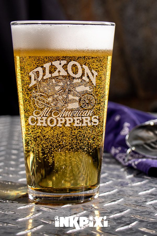 All American Choppers Clear Pint Glass Engraved Single Pint
