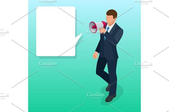 isometric man with loudspeaker flat vector illustration speaker or loudspeaker vector illustration isometric human vector pinterest