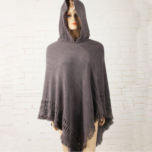 New Hot Irregularidade Varredura Borla Senhora Malha Poncho Com Capuz Brasão Mulheres Batwing Luva Camisola Outwear