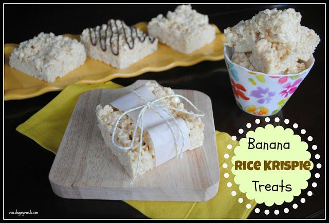 "Banana Rice Krispie Treats{Shugary Sweets} ""Just add JELL-O pudding mix to your melted marshmallows to change up the flavor of your Rice Krispie Treats!"""