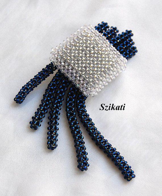 GRATIS envío semillas de cristal azul oscuro grano broche