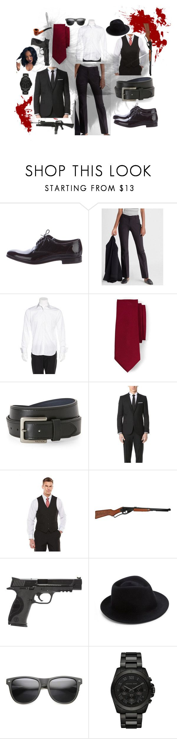 """""""1920's inspired Gangster outfit #2"""" by leximccoy01 on Polyvore featuring Prada, Express, Michael Kors, Lands' End, Nautica, The Kooples, Savile Row, Smith & Wesson, Eugenia Kim and ZeroUV"""