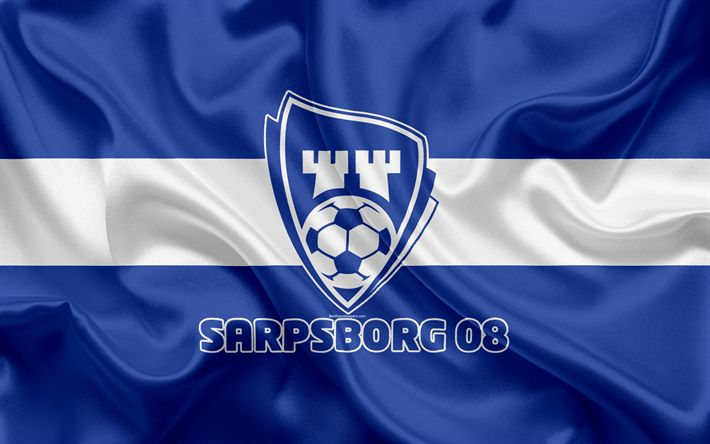 Download wallpapers Sarpsborg 08 FC, 4k, Norwegian football club, emblem, logo, Eliteserien, Norwegian Football Championships, football, Sarpsborg, Norway, silk flag