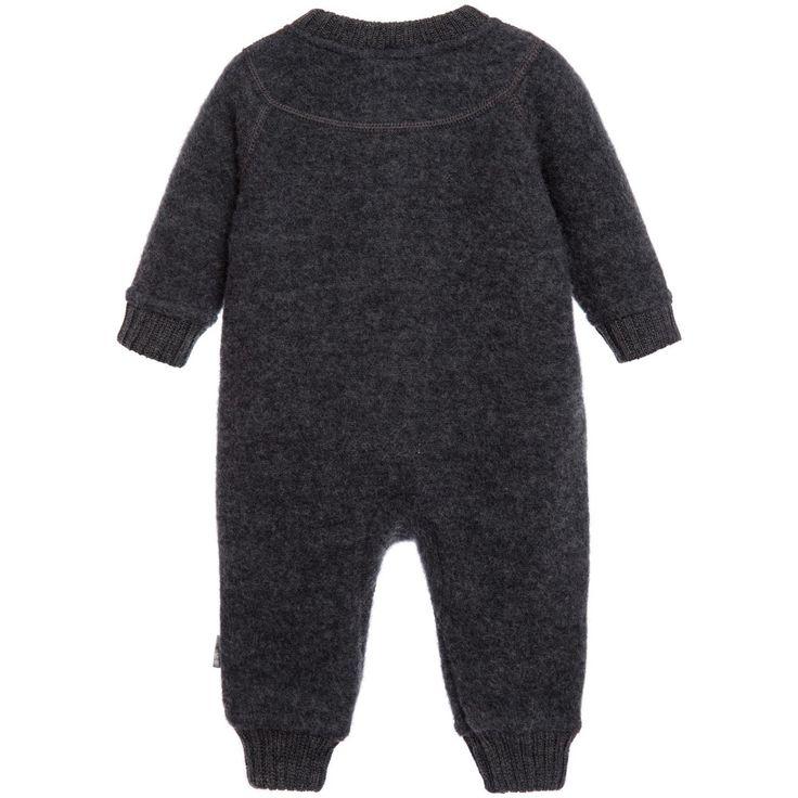 Joha - Grey Thermal Merino Wool Baby Romper Suit | Childrensalon