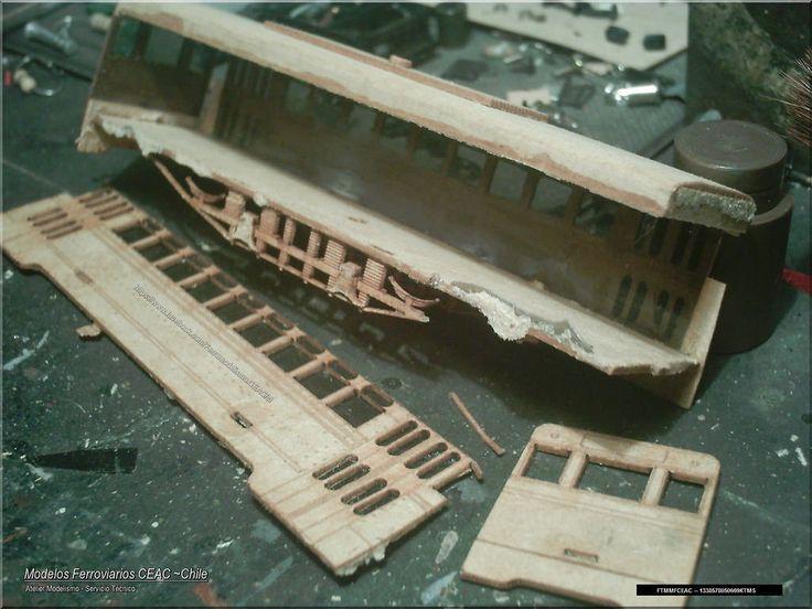 https://flic.kr/p/UrETMR | Laser cut wooden tramway kit in process | — Ficha Técnica Modelismo: #13385-4029 Modelos Ferroviarios CEAC - Chile
